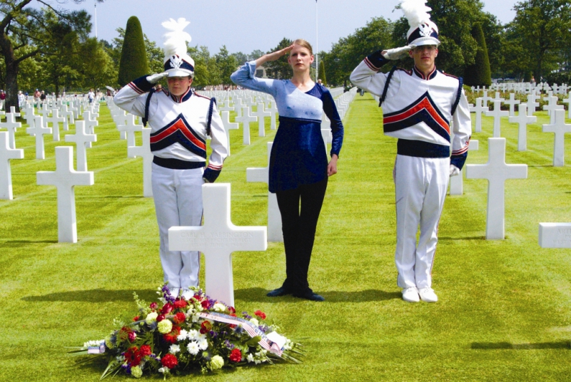 Normandy American Cemetery - Timpview HS salute 2004