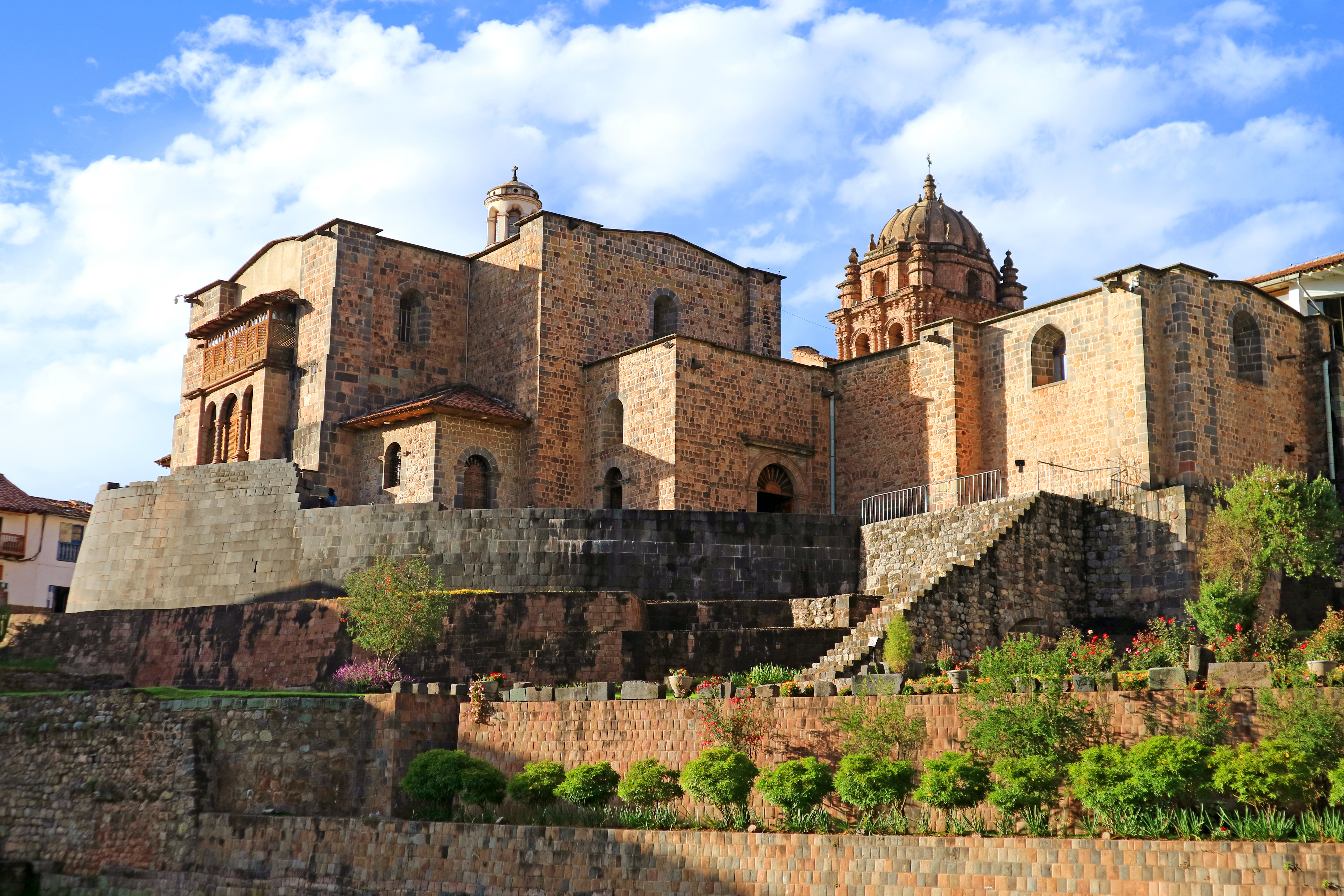 The Temple of the Sun of the Incas or Coricancha with the Convent of Santo Domingo Church above, Cusco, Peru, South America