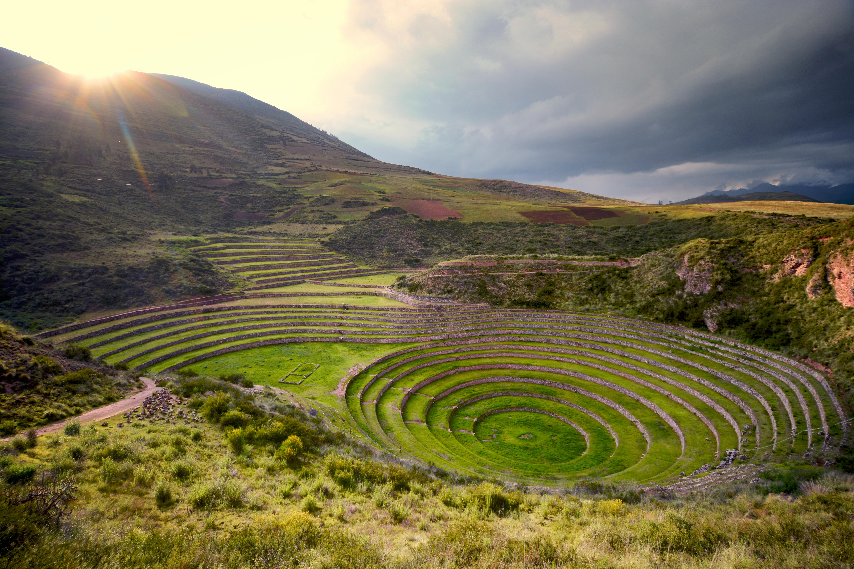 Sun over Moray, Sacred Valley of the Incas, Peru