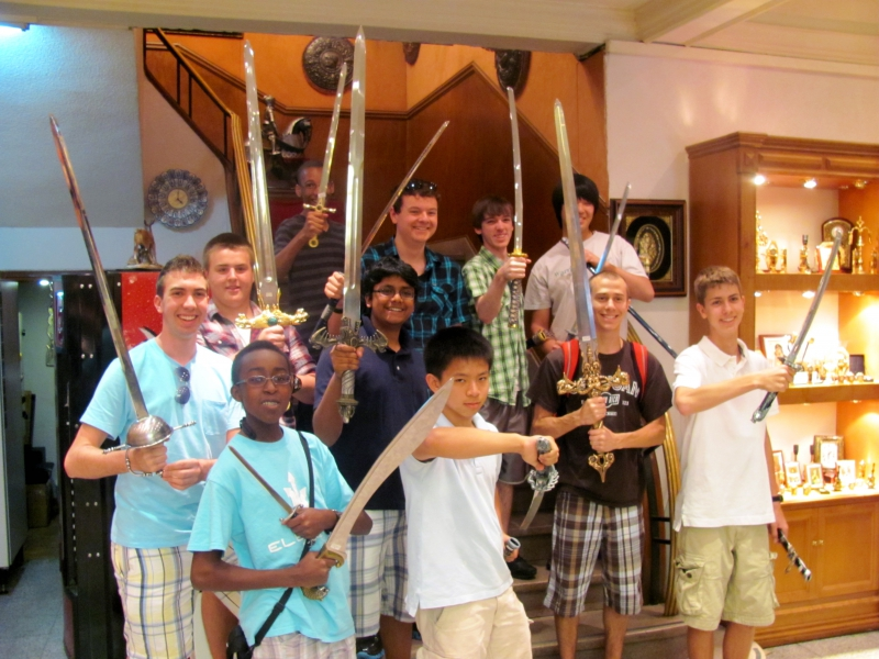 Toledo - Waubonsie Valley HS Orchestra students at medieval shop
