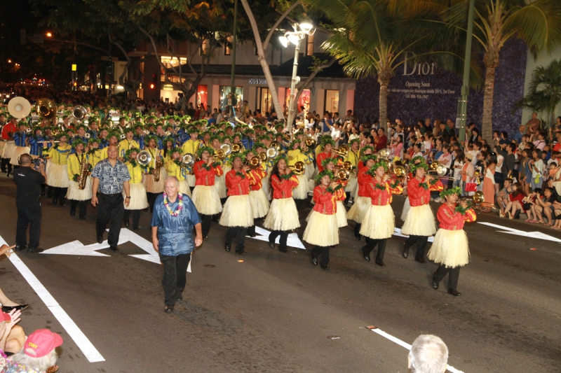 Waikiki Holiday Parade - Local band with hula skirts 2013